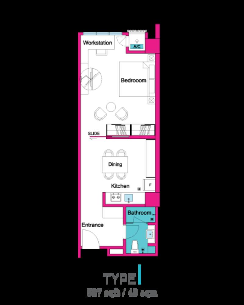 VIVO Suites @ 9 Seputeh Type 1 Floor Plan