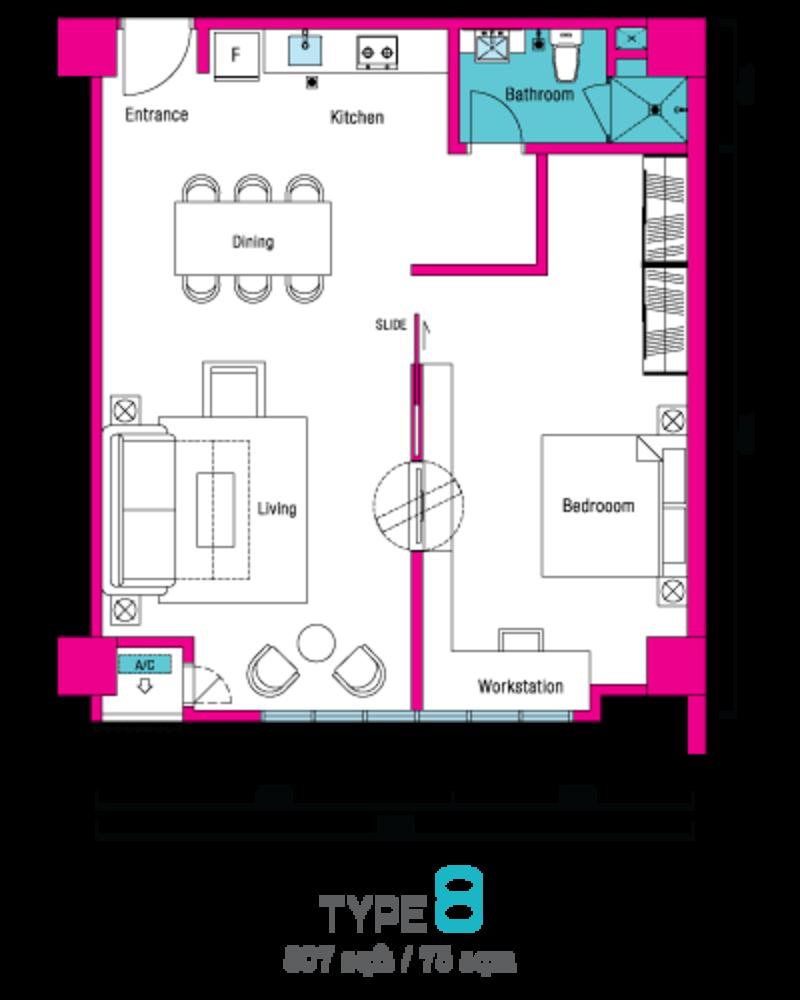 VIVO Suites @ 9 Seputeh Type 8 Floor Plan