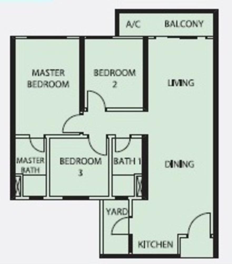 Mercury Serviced Apartment @ Sentul Village Type B Floor Plan