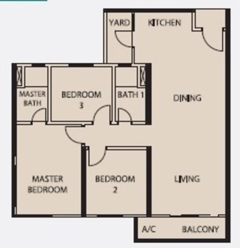 Mercury Serviced Apartment @ Sentul Village Type C Floor Plan
