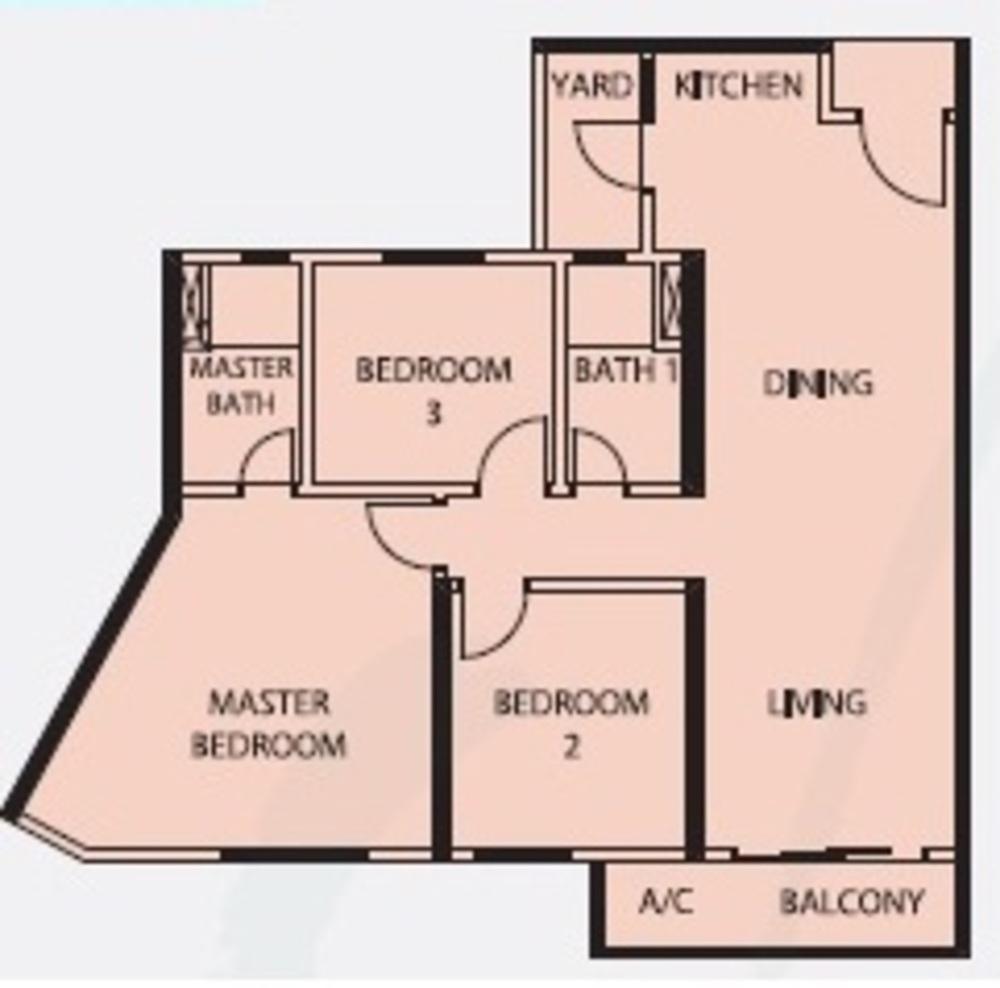 Mercury Serviced Apartment @ Sentul Village Type D Floor Plan