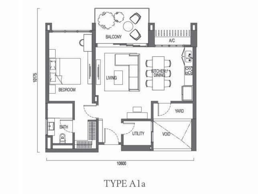 The Parque Residences @ Eco Sanctuary Type A1a Floor Plan