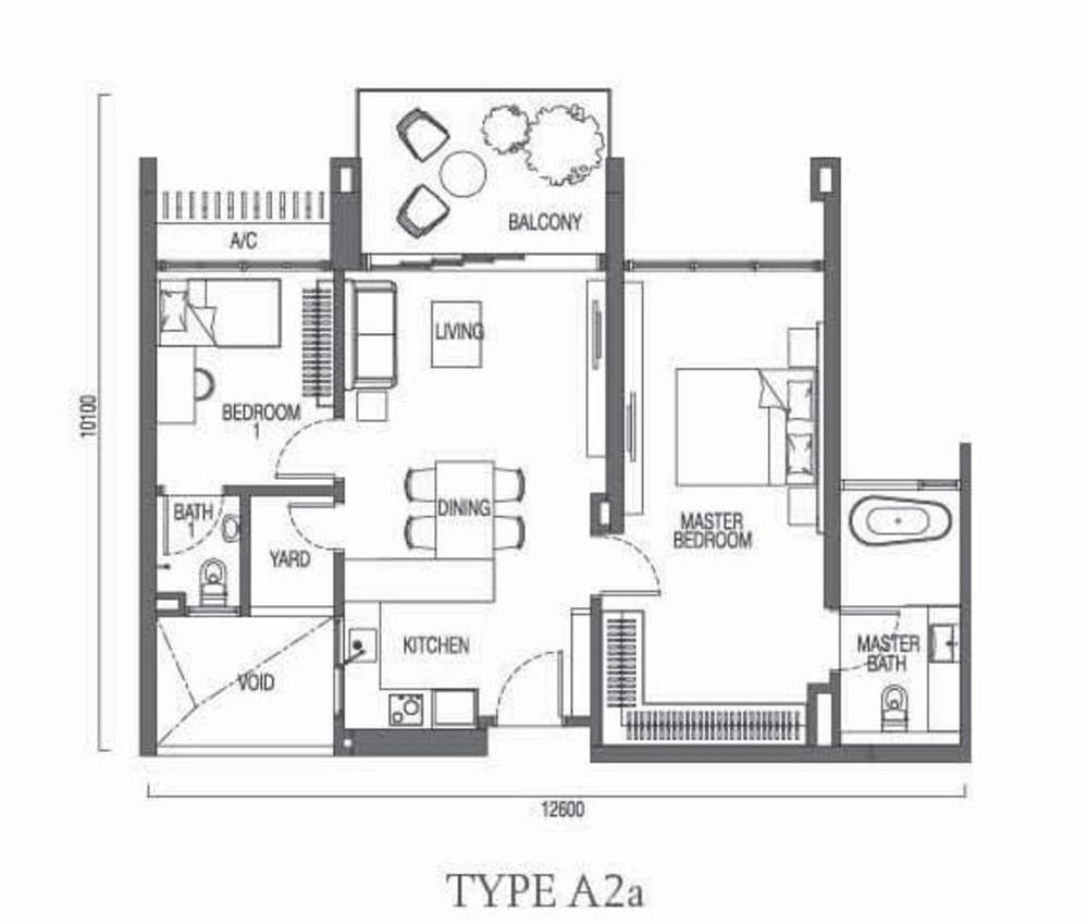 The Parque Residences @ Eco Sanctuary Type A2a Floor Plan