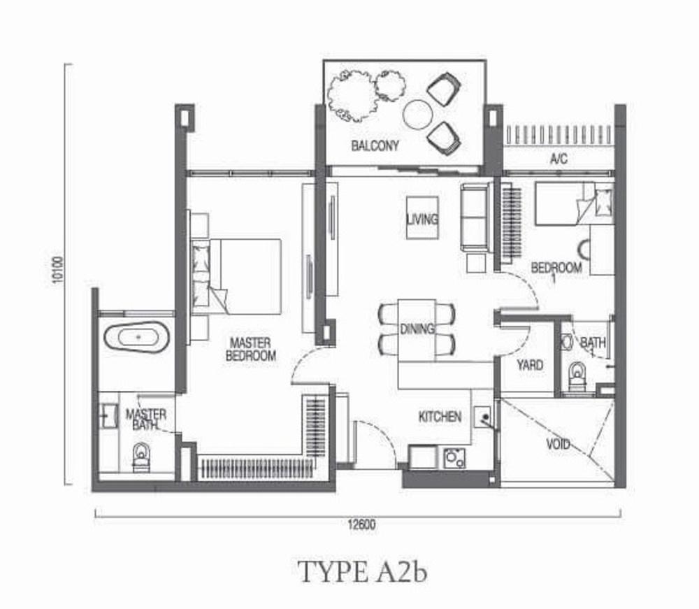 The Parque Residences @ Eco Sanctuary Type A2b Floor Plan
