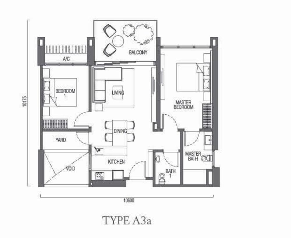 The Parque Residences @ Eco Sanctuary Type A3a Floor Plan