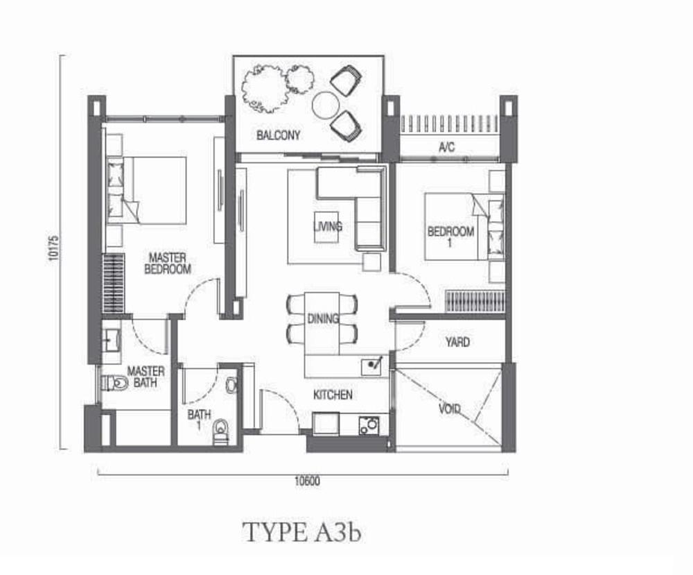 The Parque Residences @ Eco Sanctuary Type A3b Floor Plan