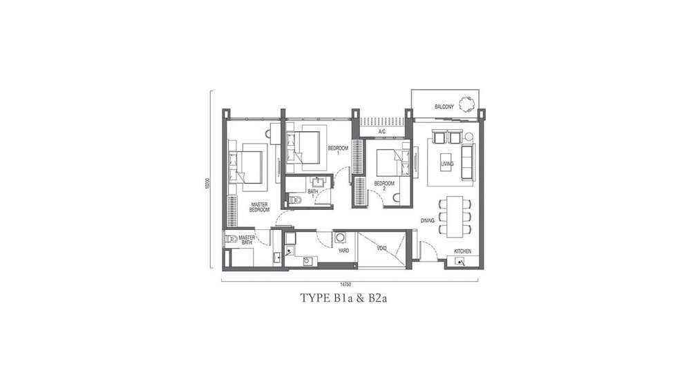 The Parque Residences @ Eco Sanctuary Type B1a & B2a Floor Plan