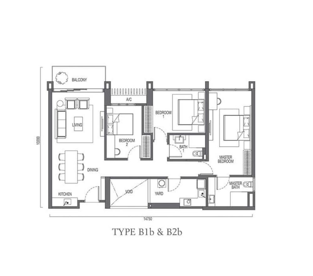 The Parque Residences @ Eco Sanctuary Type B1b & B2b Floor Plan