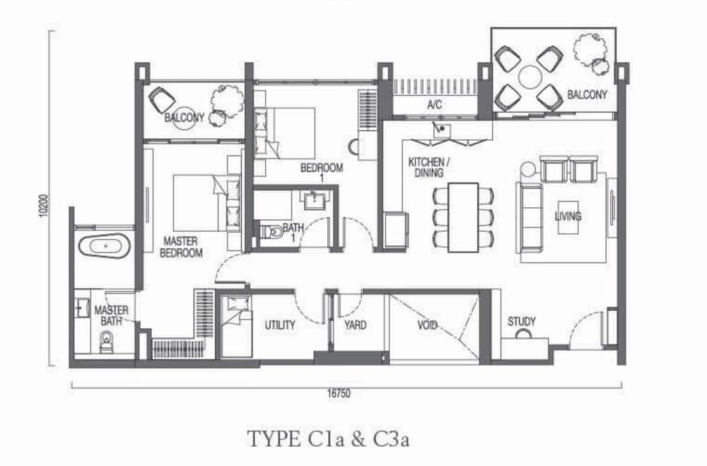 The Parque Residences @ Eco Sanctuary Type C1a & C3a Floor Plan