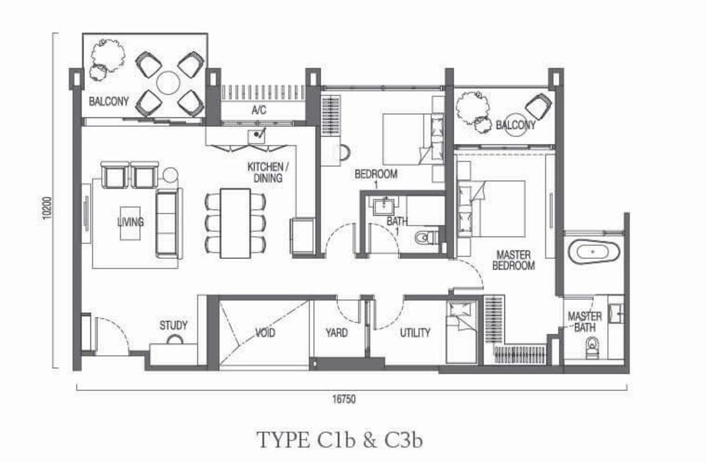 The Parque Residences @ Eco Sanctuary Type C1b & C3b Floor Plan