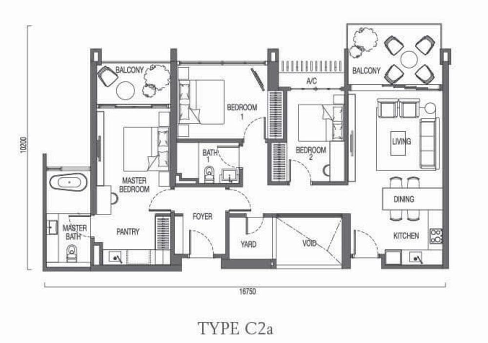 The Parque Residences @ Eco Sanctuary Type C2a Floor Plan