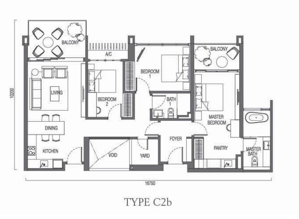 The Parque Residences @ Eco Sanctuary Type C2b Floor Plan