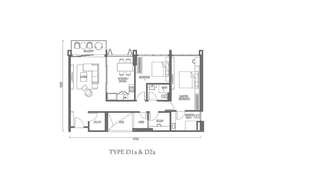 The Parque Residences @ Eco Sanctuary Type D1a & D2a Floor Plan