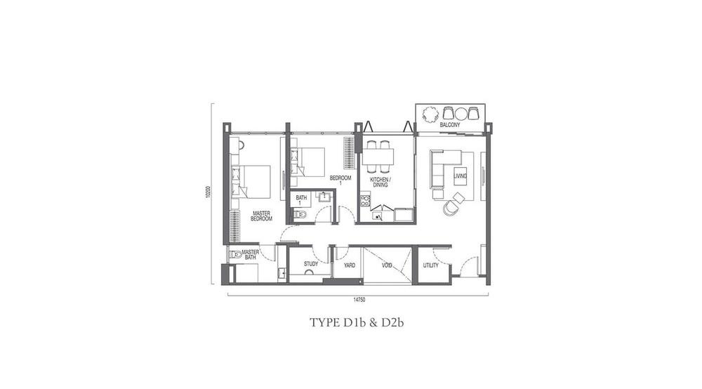 The Parque Residences @ Eco Sanctuary Type D1b & D2b Floor Plan