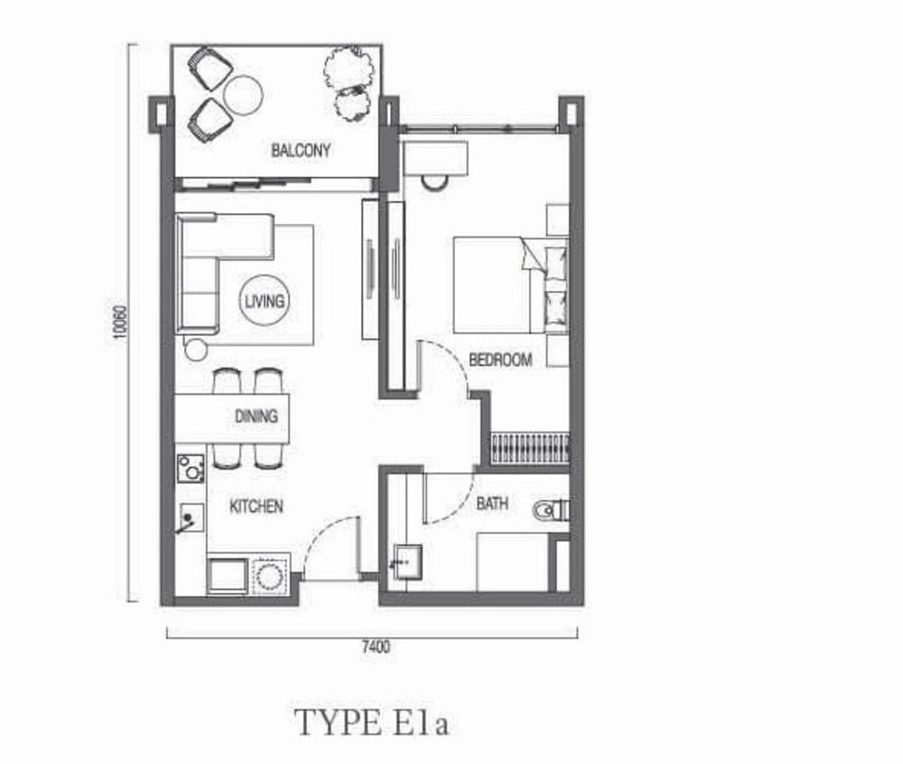 The Parque Residences @ Eco Sanctuary Type E1a Floor Plan