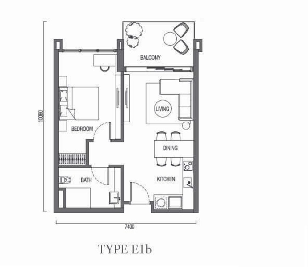 The Parque Residences @ Eco Sanctuary Type E1b Floor Plan
