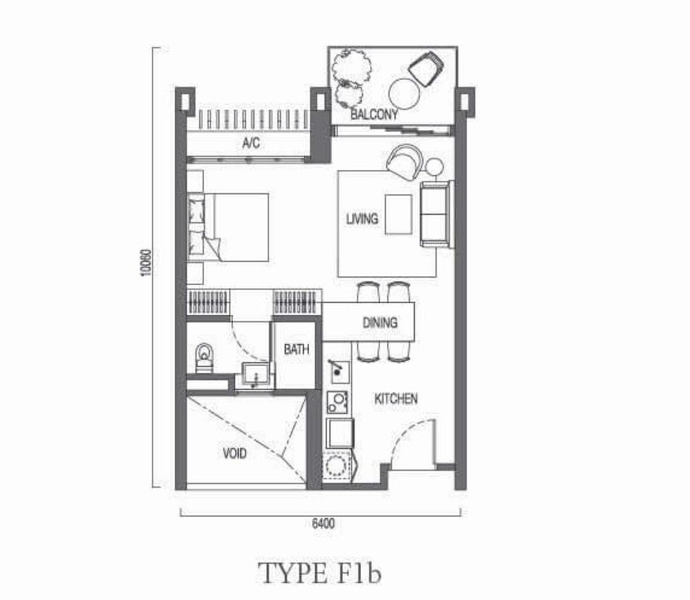 The Parque Residences @ Eco Sanctuary Type F1b Floor Plan