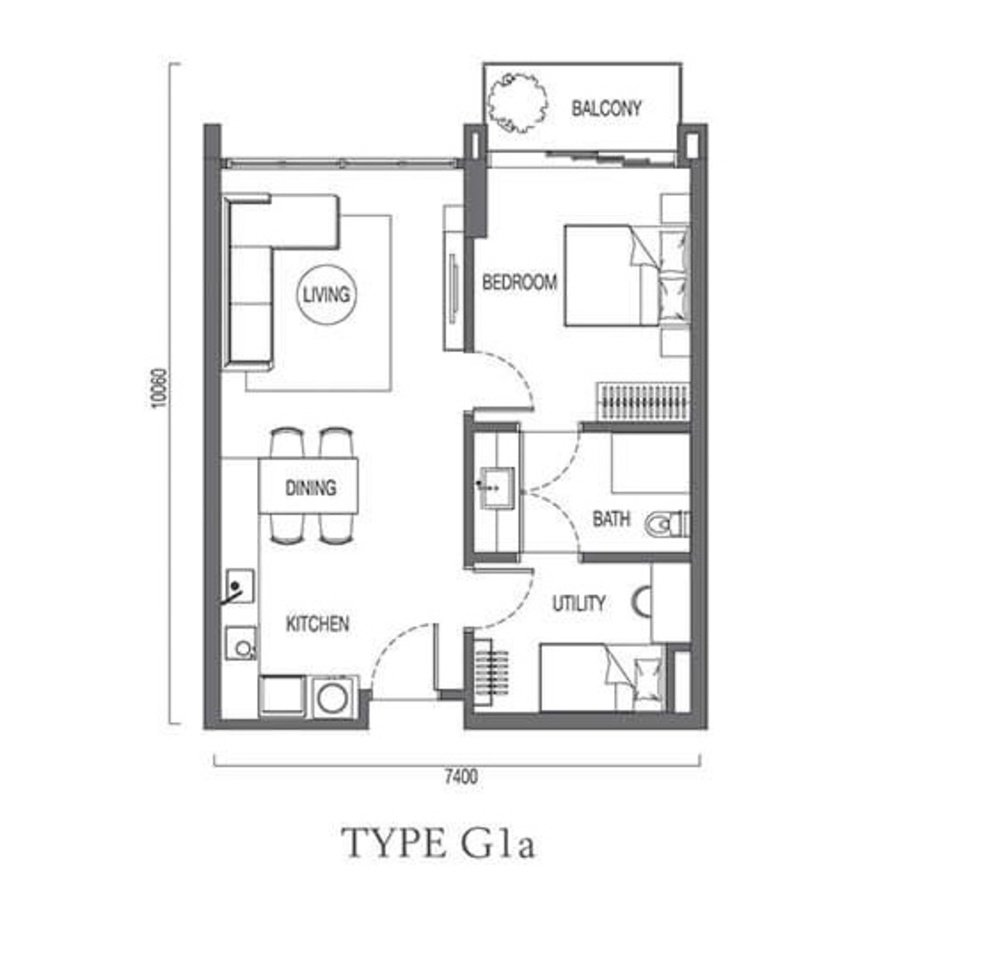 The Parque Residences @ Eco Sanctuary Type G1a Floor Plan