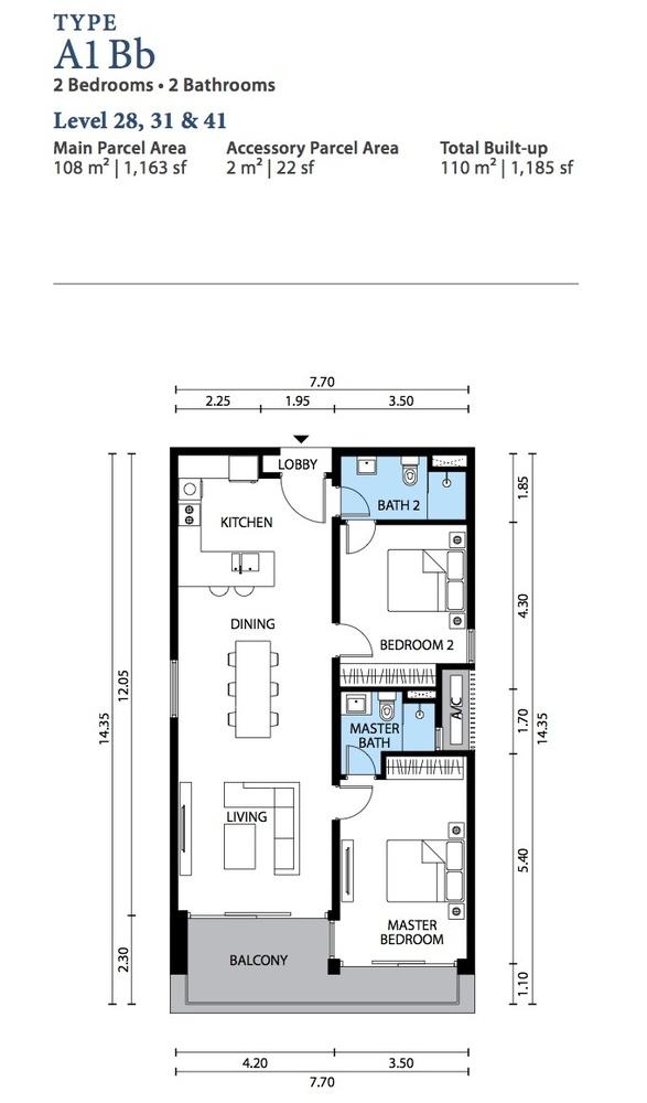 The Westside Three Type A1 Bb Floor Plan