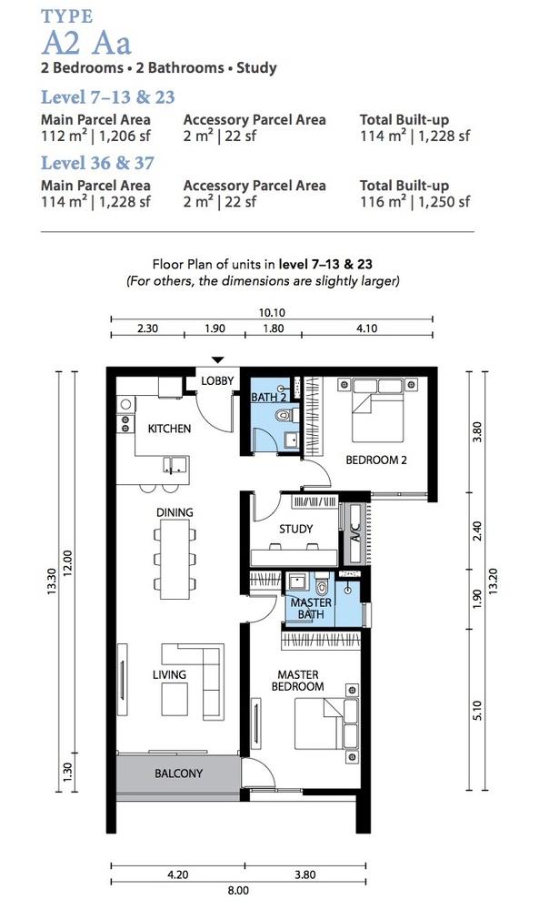 The Westside Three Type A2 Aa Floor Plan