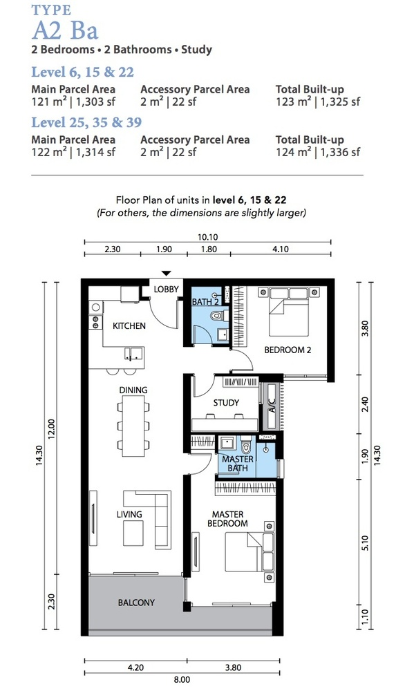 The Westside Three Type A2 Ba Floor Plan
