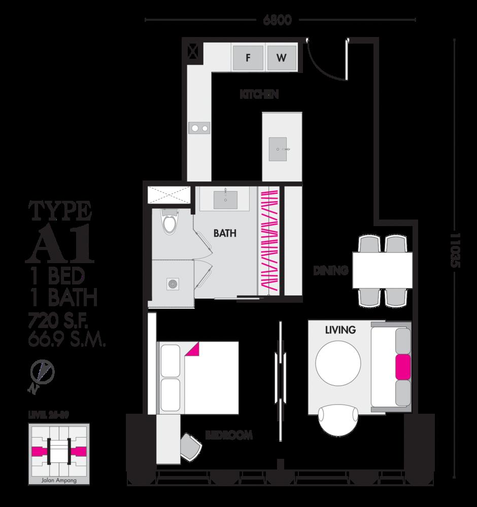 Tropicana The Residences Type A1 Floor Plan