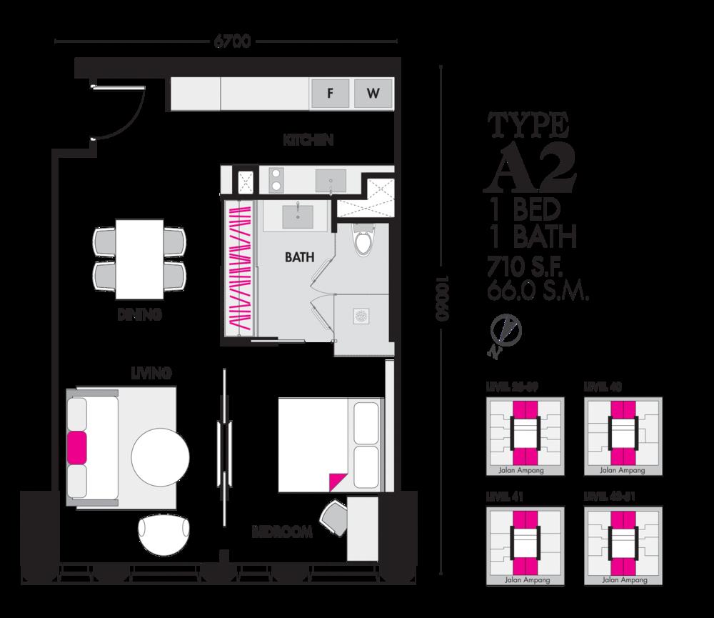 Tropicana The Residences Type A2 Floor Plan