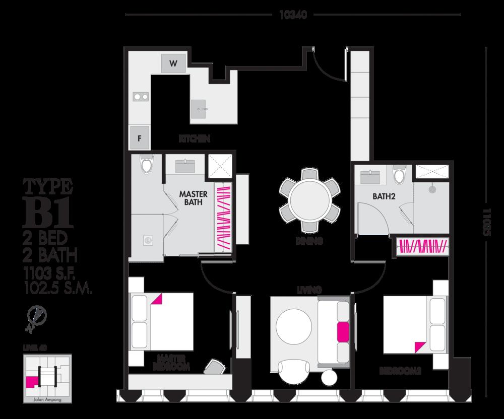 Tropicana The Residences Type B1 Floor Plan