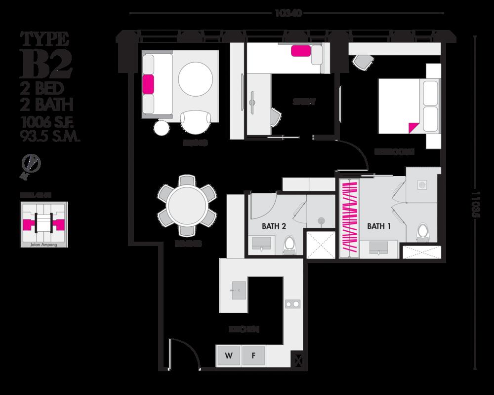 Tropicana The Residences Type B2 Floor Plan