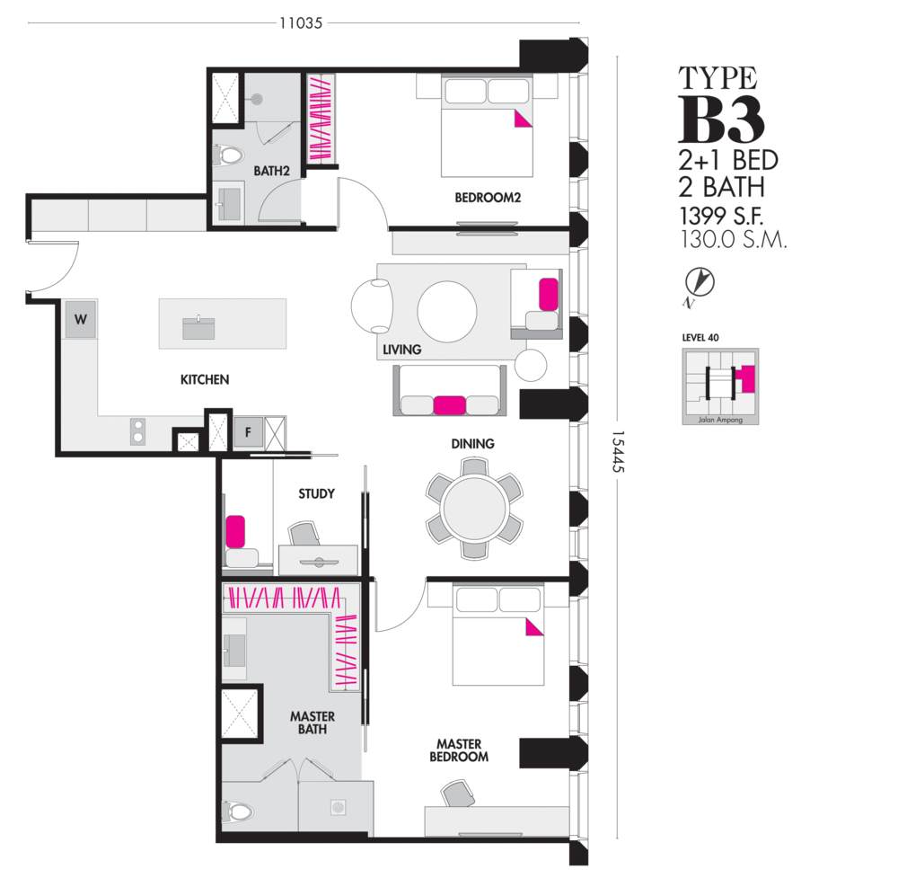 Tropicana The Residences Type B3 Floor Plan