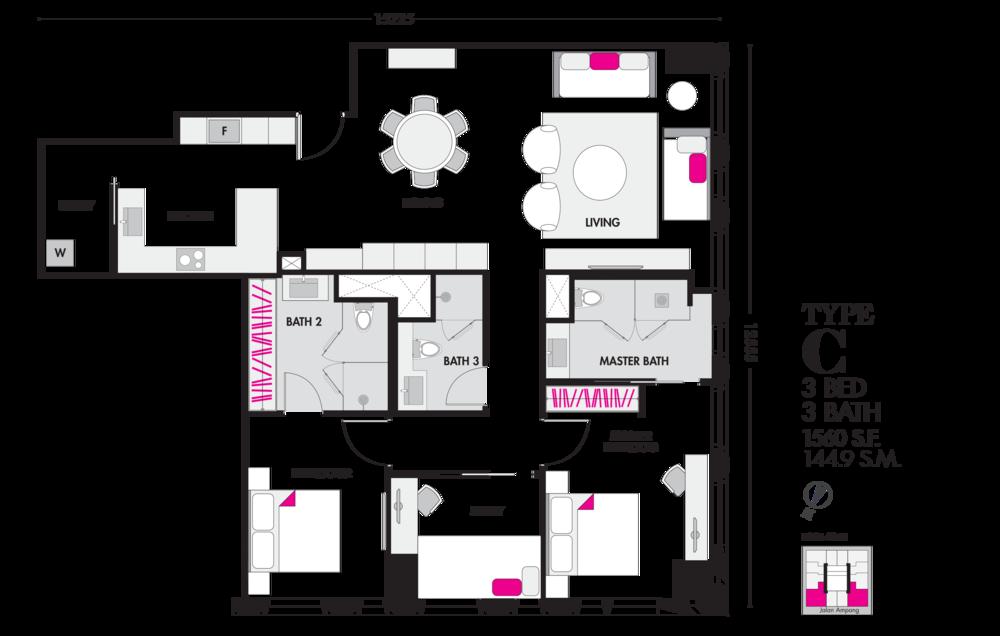 Tropicana The Residences Type C Floor Plan