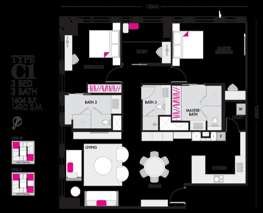 Tropicana The Residences Type C1 Floor Plan