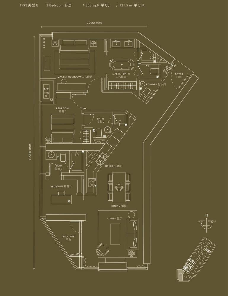 YOO8 serviced by Kempinski @ 8 Conlay Type E Floor Plan