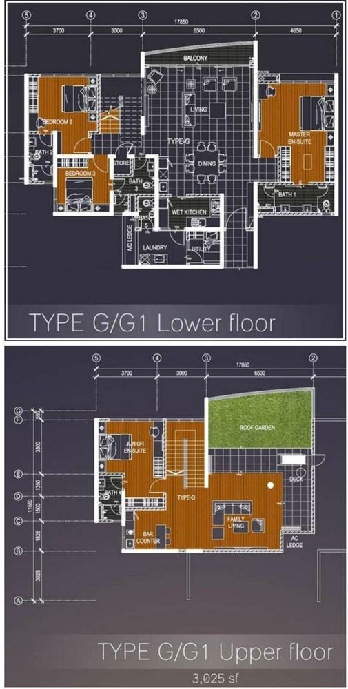 Casa Green Type G/G1 Lower & Upper floor Floor Plan
