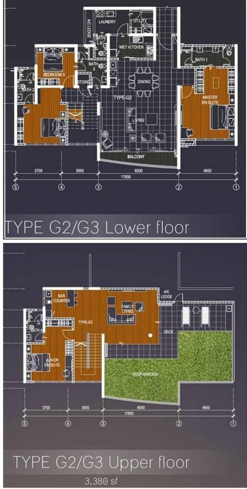 Casa Green Type G2/G3 Lower & Upper floor Floor Plan