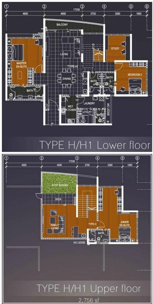 Casa Green Type H/H1 Lower & Upper floor Floor Plan