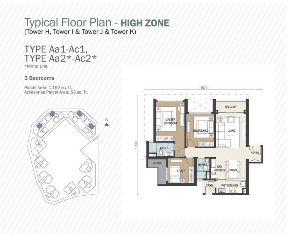 Agile Mont Kiara Type Aa1 - Ac1, Aa2 - Ac2 Floor Plan