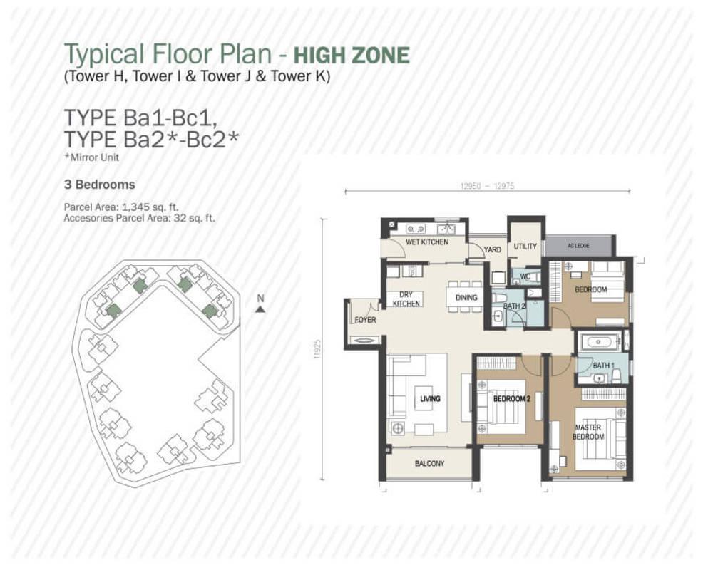 Agile Mont Kiara Type Ba1 - Bc1, Ba2 - Bc2 Floor Plan