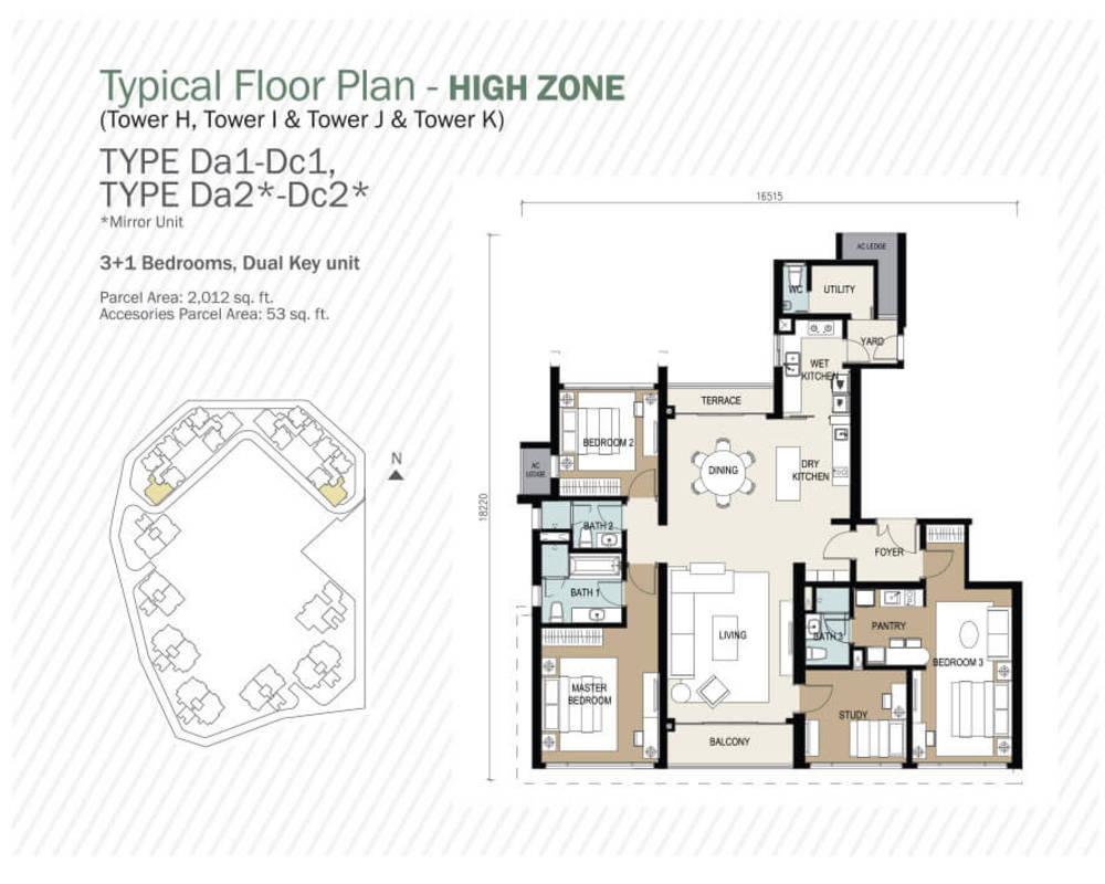 Agile Mont Kiara Type Da1 - Dc1, Da2 - Dc2 Floor Plan