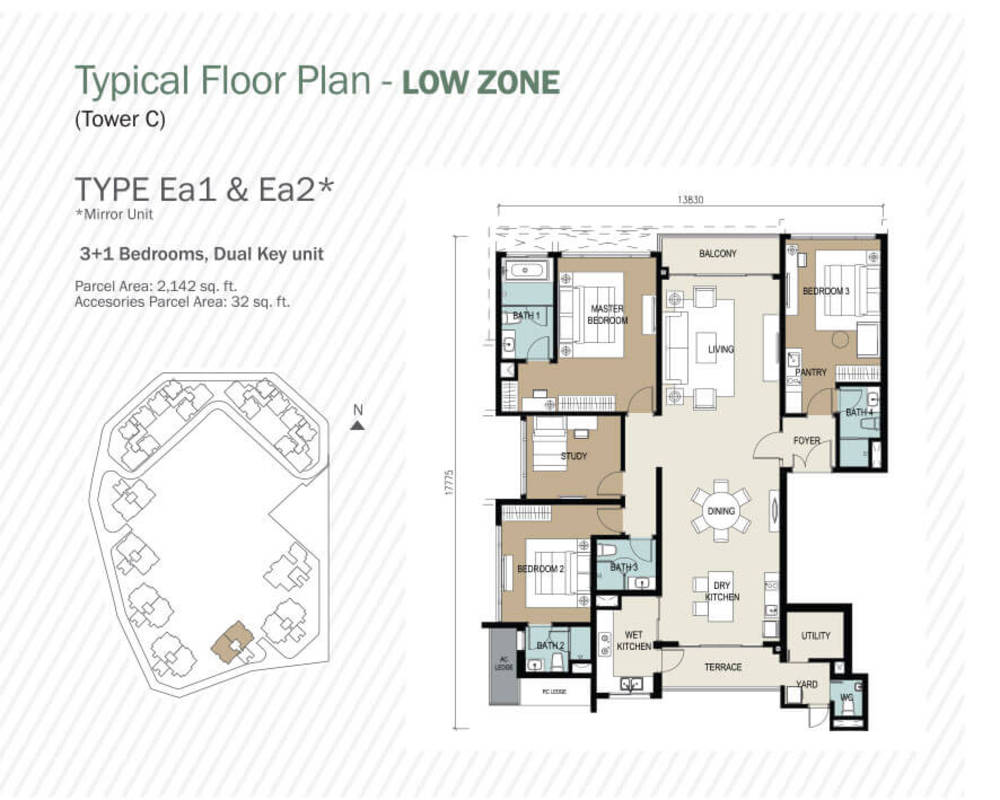 Agile Mont Kiara Type Ea1 & Ea2 Floor Plan