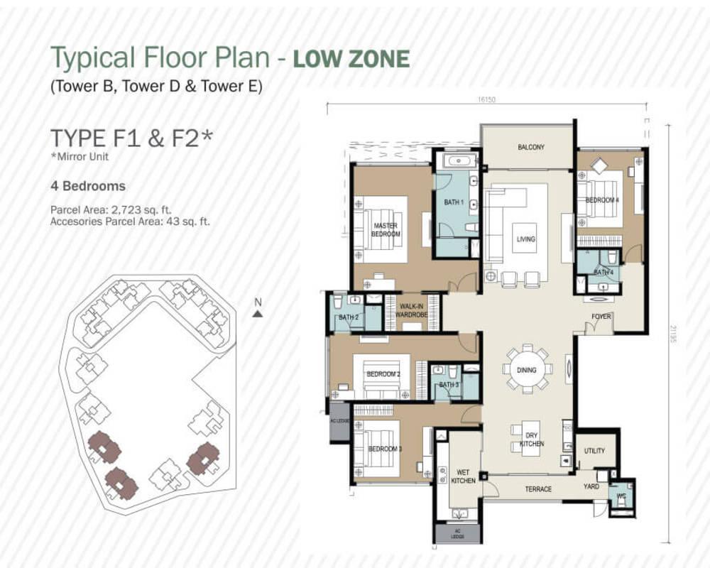 Agile Mont Kiara Type F1 & F2 Floor Plan