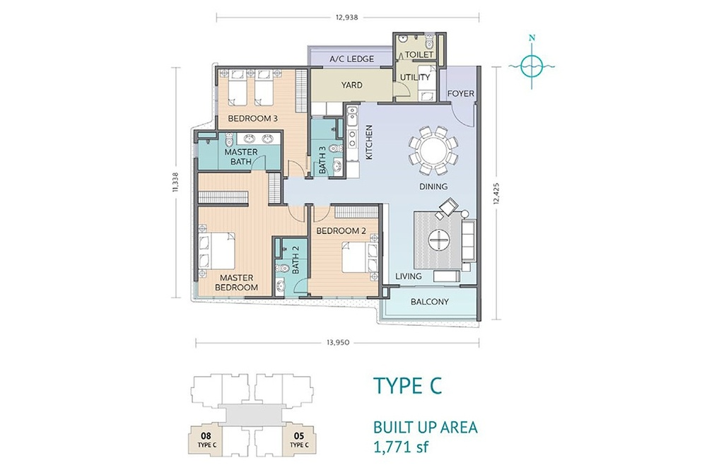 Residensi Sefina Type C Floor Plan
