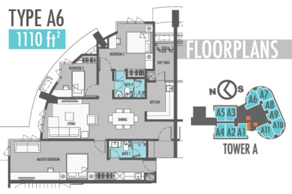 Tiara Mutiara 2 Type A6 Floor Plan