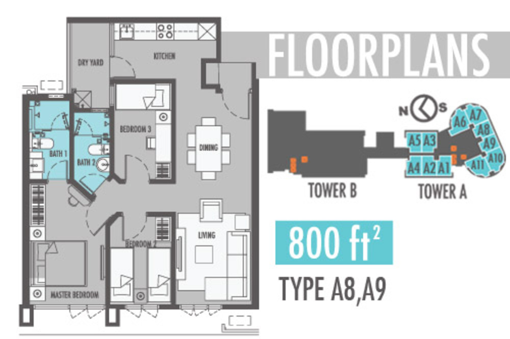 Tiara Mutiara 2 Type A8 & A9 Floor Plan