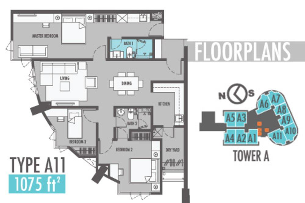 Tiara Mutiara 2 Type A11 Floor Plan
