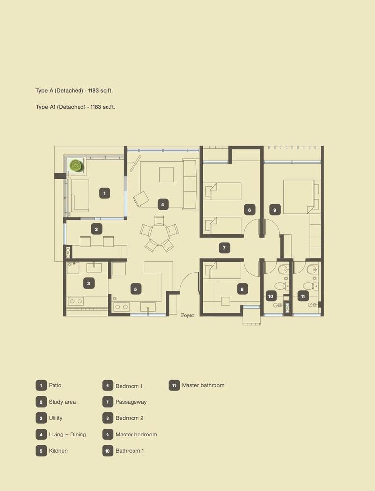 The Armanna @ Kemuning Prima Type A & A1 Floor Plan