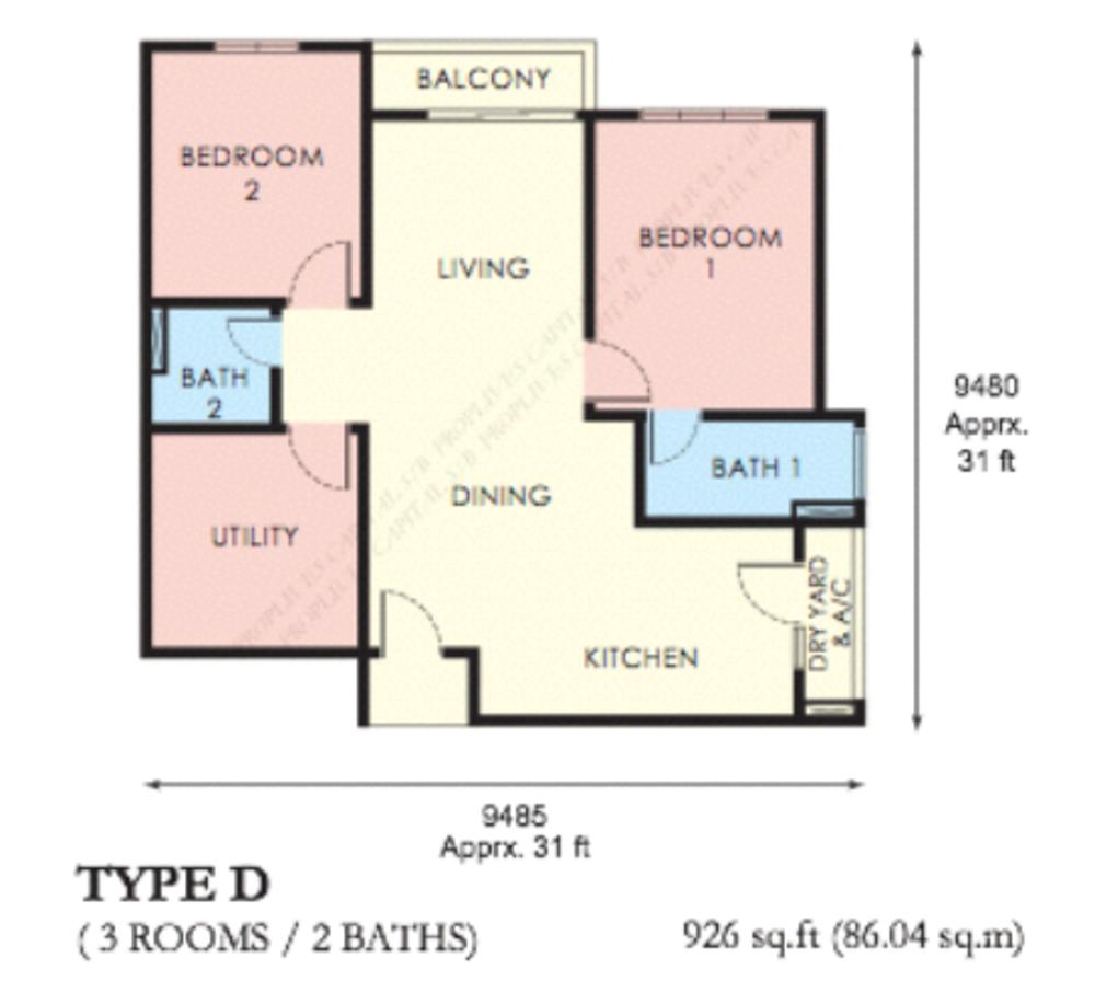 The Edge Residen Type D Floor Plan