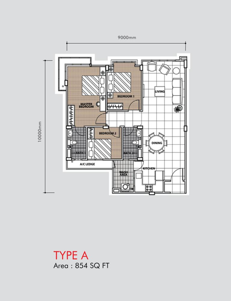 Putra 1 Apartment Type A (Block 2) Floor Plan