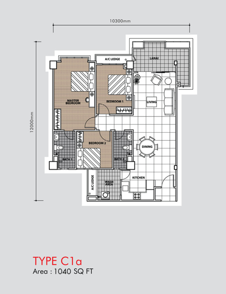 Putra 1 Apartment Type C1a (Block 3, 5 & 6) Floor Plan