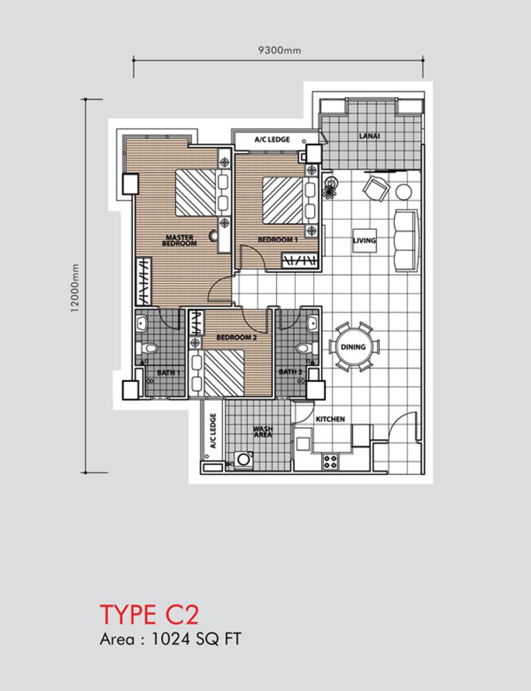 Putra 1 Apartment Type C2 (Block 3, 5 & 6) Floor Plan